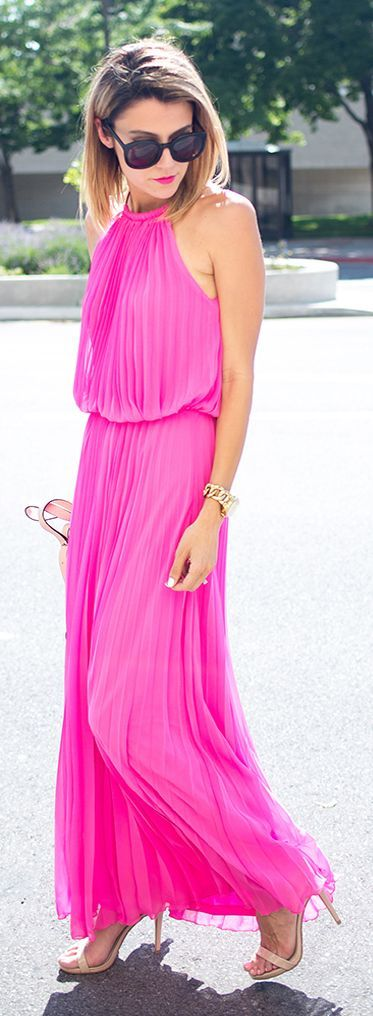 Hot Pink Pleated Halter Maxi Dress by Hello Fashion