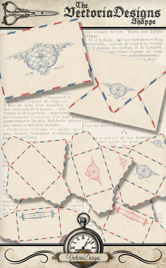 Vintage Air Mail Envelopes Printable Envelopes by VectoriaDesigns