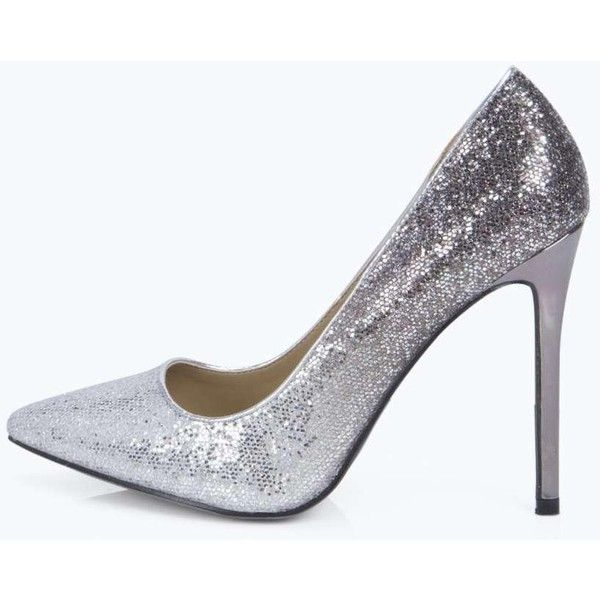 Boohoo Night Eva Ombre Glitter Pointed Court Heels ($44) ❤ liked on Polyvore featuring shoes, pumps, silver, platform shoes, silver glitter pumps, glitter pumps, silver high heel shoes and silver wedge shoes