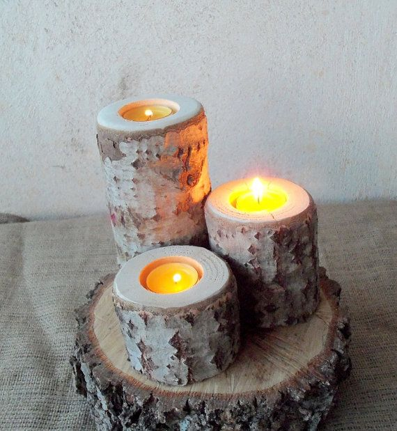 3 Wood Candle Holders  Table Centerpiece   Wood by PebblesAndWoods
