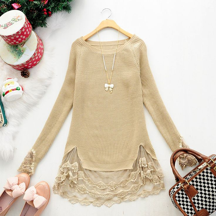 New Slim Vintage Lace Hem Sweater Stitching Off Two Knitting Cardigan Clothes | eBay