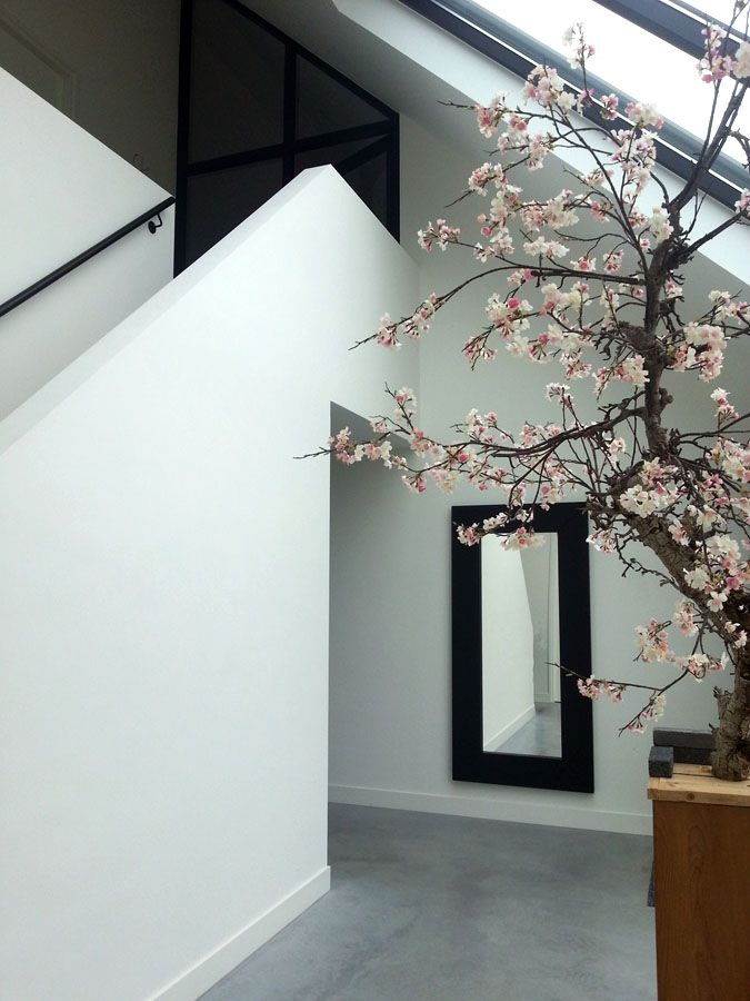 Architectenbureau koppens modern woonhuis te velp entree hal glas trap interieur - Entreehal met trap ...