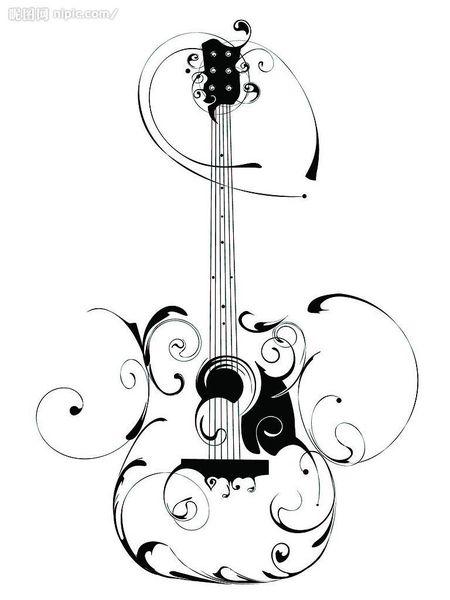 rockabilly style bass guitar tattoo   Guitar Swirl image - vector clip art online, royalty free & public ...