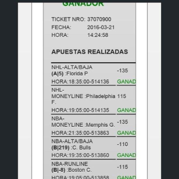 El dia de hoy no tuvimos éxito en nuestro parley preciso ni opcional. Quedamos 6/3. Sin embargo les presento una muestra de lo que seria nuestro #Parley de suscripción elaborado minuciosamente por nuestro equipo de pronosticadores amantes del deporte. Pronto estaremos dando mayor información al respecto.  #Money #dinero #suscripción  #Venezuela #Colombia #nba #nhl #nfl #ncaab #mlb  Saludos y feliz noche. by parleypreciso