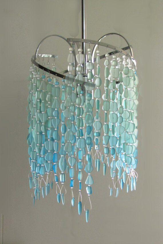Sea Glass Pendant Hanging Light Kitchen Island Pendant Beach Etsy Glass Pendant Light Sea Glass Decor Sea Glass Pendant