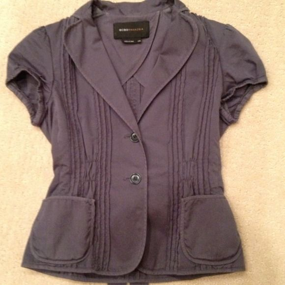 BCBGMaxAzria Jacket Cute blue-grey fitted jacket with nice detailing and tie in back for slimming look. BCBGMaxAzria Jackets & Coats