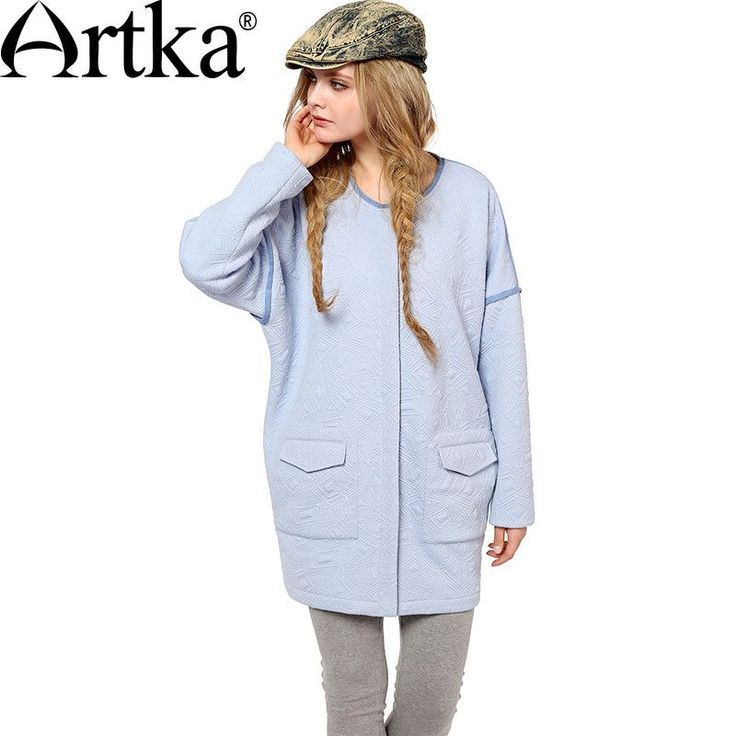 Artka Women's Autumn New Solid Color Patchwork All-match Hoodie Casual O-Neck Drop-shoulder Sleeve Hoodie With Pockets VA10052Q