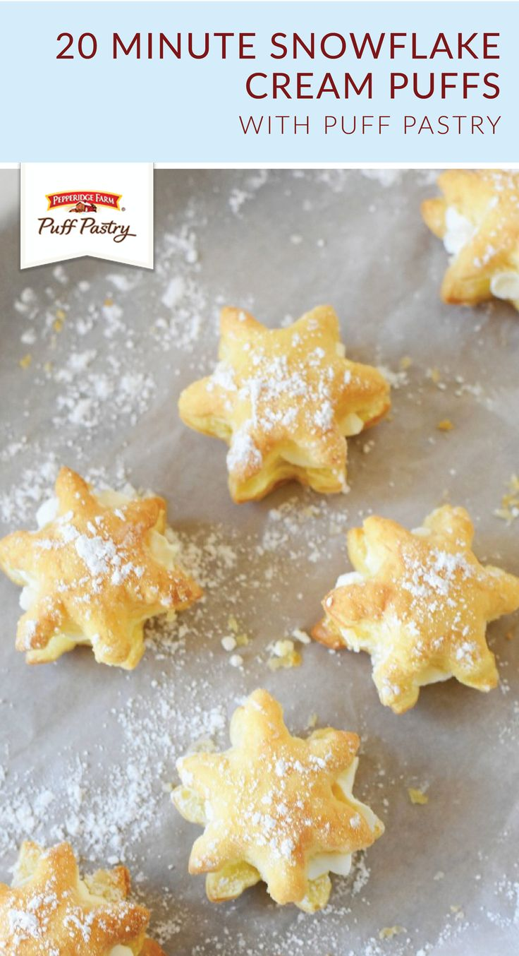 Looking for a festive dessert recipe to make this winter? Try out these 20 Minute Snowflake Cream Puffs from Amy, of Sizzling Eats! Use a cookie cutter to cut Pepperidge Farm® Puff Pastry Sheets into sweet snowflake treats. Then, add whipped cream, vanilla, and powdered sugar to create this quick and easy holiday recipe.