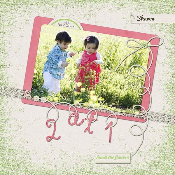 Sharon's awesome layout using this kit avail @ MyMemories!