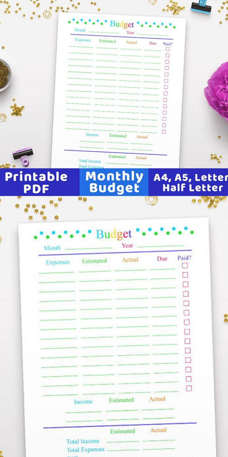 Get your personal finances organized in style with this pretty budget planner!Handy monthly budget worksheet printable with a pretty rainbow color scheme. 4 sizes in order to perfectly fit your planner or budget binder- letter, half letter, A4, and A5. Monthly Budget Planner Printable, Budget Worksheet, Family Budget, Printable Budget, Personal Finance, Finance Planner. #budget #finances #ad #organize #printable #planner #budgetplanner #etsy #FinanceWorksheets