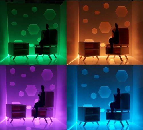 Voor dit ontwerp heb ik mij gebaseerd op de vormen van Hay. Zo heb ik gewerkt met eenvoudige vierkanten, rechthoeken en een ovaal vorm. De stoel is functioneel. Zo heb je een stoel die verwerkt is in een tafel. In het onderste deel van de stoel zit een opbergkastje. Het hele ontwerp is in hout gemaakt. Ook heb ik gewerkt met pastelkleuren voor de kussens op de stoel. Tot slot heb ik gewerkt met led verlichting.