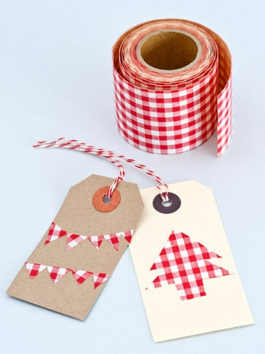 Red checked fabric tape ... luv these little tags ...this tape solves the adhesive problem for fabric ...