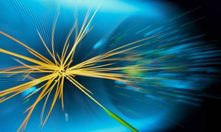 Kollision von Protonen (Grafik): Die Forscher am LHC-Beschleuniger haben ein...