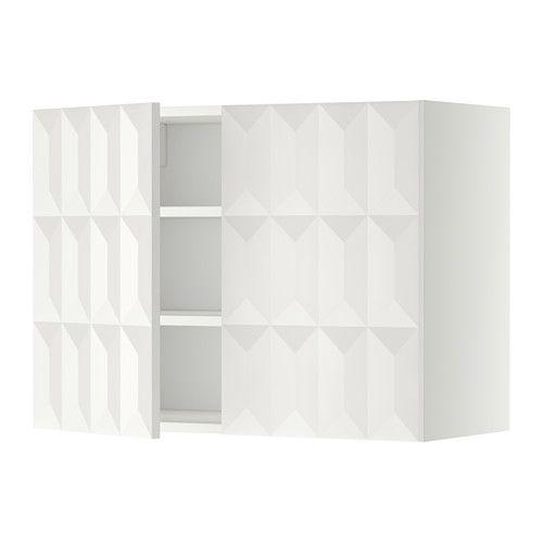 IKEA - METOD, Wandschrank mit Böden und 2 Türen, weiß, Herrestad weiß, 80x60 cm, , Mit versetzbarem Boden; der Abstand dazwischen kann dem Bedarf angepasst werden.Das Grundelement ist stabil konstruiert: 18 mm stark.Dank der Schnappscharniere lassen sich die Türen einfach ohne Schrauben montieren und zum Reinigen leicht abnehmen.