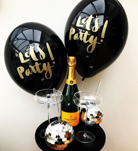 Let's Party Pack of 6 Calligraphy lettered by bertiesballoons