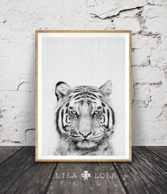 Tiger Print, Nursery Animal Wall Art, Safari Decor, African Photo, Kids, Printable Instant Digital Download, Black and White, Modern Poster