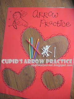 Cupid's Arrow Practice:  found this idea HERE. I changed it up a bit by making a poster with three different sized heart cutouts that the kids can shoot the arrows (Q-tips) threw. You simply put a q-tip in a straw and have the kids blow on the end of the straw and the q-tip shoots out.