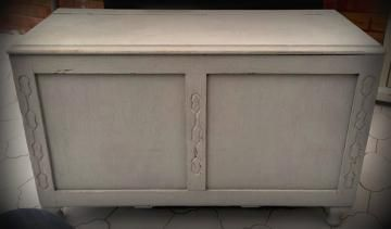 Paris Grey Blanket Box  This beautiful vintage blanket box has been painted Annie Sloan Paris Grey and distressed by hand. We love this piece! - £45
