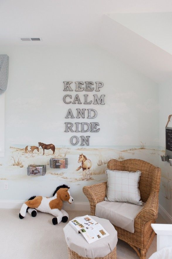 Cute girl's room idea for the horse lover. Keep calm and ride on.
