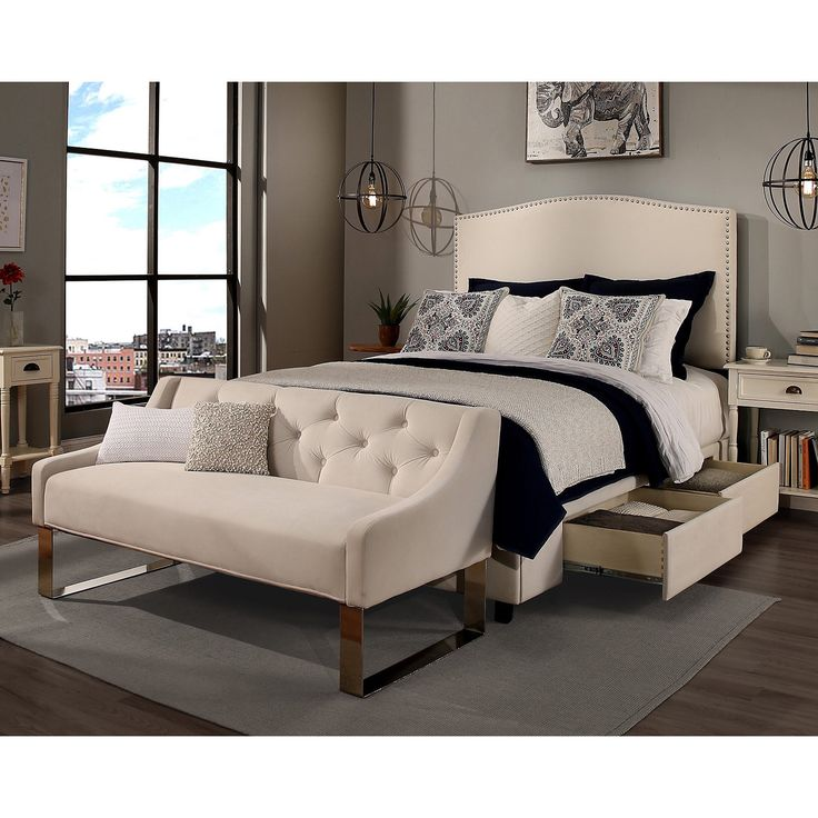 Republic Design House King/Cal King Size Newport Ivory Headboard, Storage  Bed And Tufted Nice Design