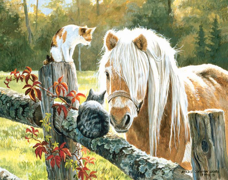 Just Visiting by Persis Clayton Weirs ~ horse & kittens on fence