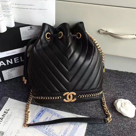 51138200affa Chanel Lambskin Drawstring Bag Black A91885