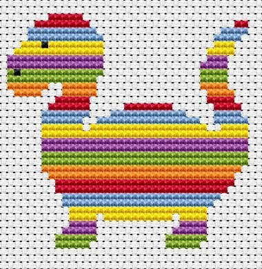 Sew Simple Striped Dinosaur cross stitch kit - super easy for beginners!