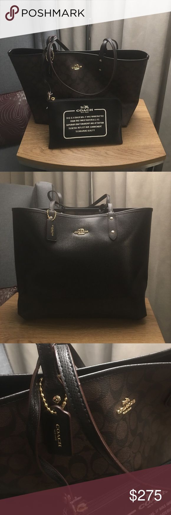 Authentic Reversible Coach Tote Bag Never used all black that can be reversed to brown & black logo tote bag - comes attached with small Coach  zipper bag Coach Bags Totes