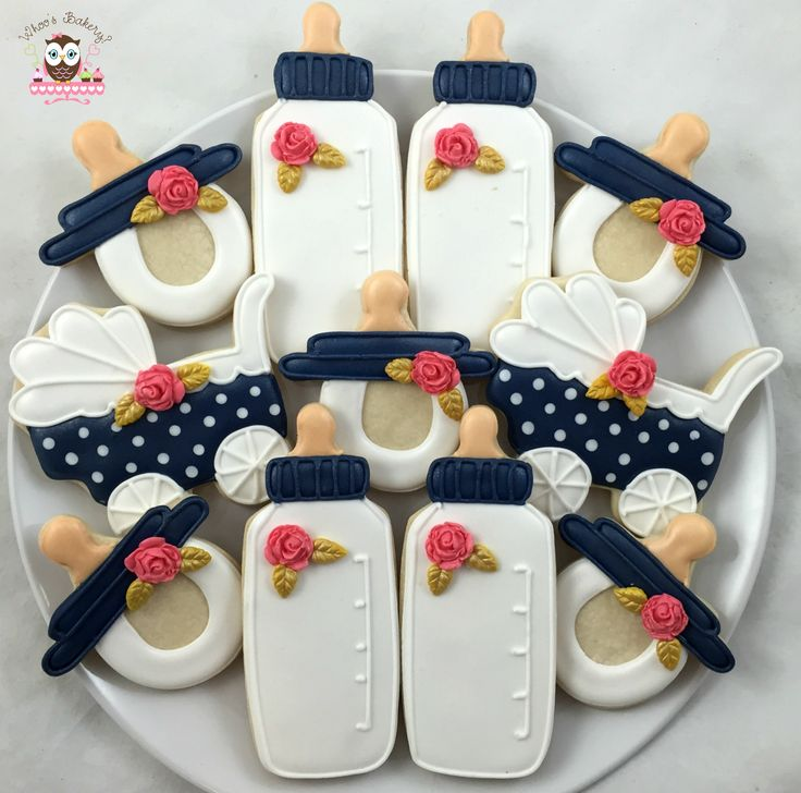 Baby bottle cookies, blue coral and white colors, pokadot pram cookies, pokadot stroller cookies, pacificer cookies