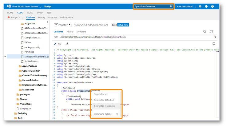 Microsoft maakt Code Search beschikbaar in Visual Studio Team Services en Team Foundation Server 2015 - http://appworks.nl/2016/10/12/microsoft-maakt-code-search-beschikbaar-in-visual-studio-team-services-en-team-foundation-server-2015/
