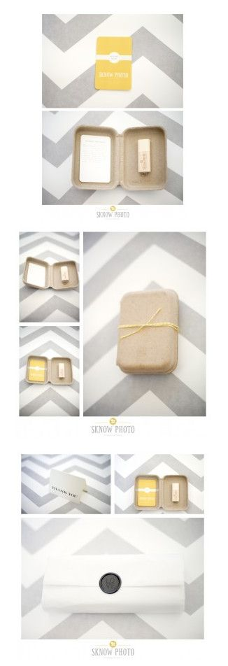 Sarah Mitchell from Sknow Photo re-branded her USB packaging with our GreenKraft clamshells. Sarah used a wooden USB flash drive, yellow bakers twine and a colorful print release card that fits perfectly on the inside cover of our small GreenKraft clamshell.