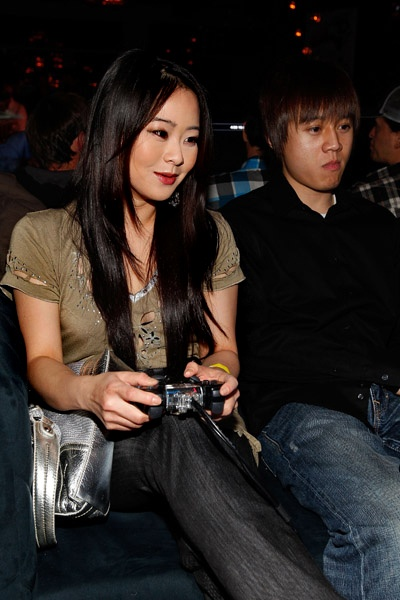 "JULIA LING, ACTRESS ON SITCOM ""CHUCK,"" Julia kicks butt at the Super Street Fighter IV celebrity launch party, while looking just as fierce in her Sovage Denim."