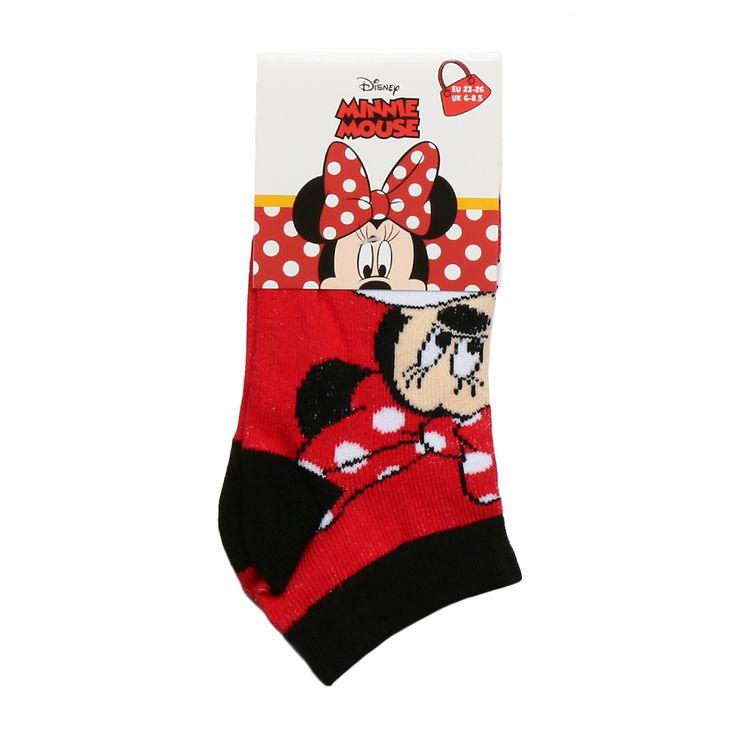 Sosete Fetite Minnie Mouse rosii cu negru