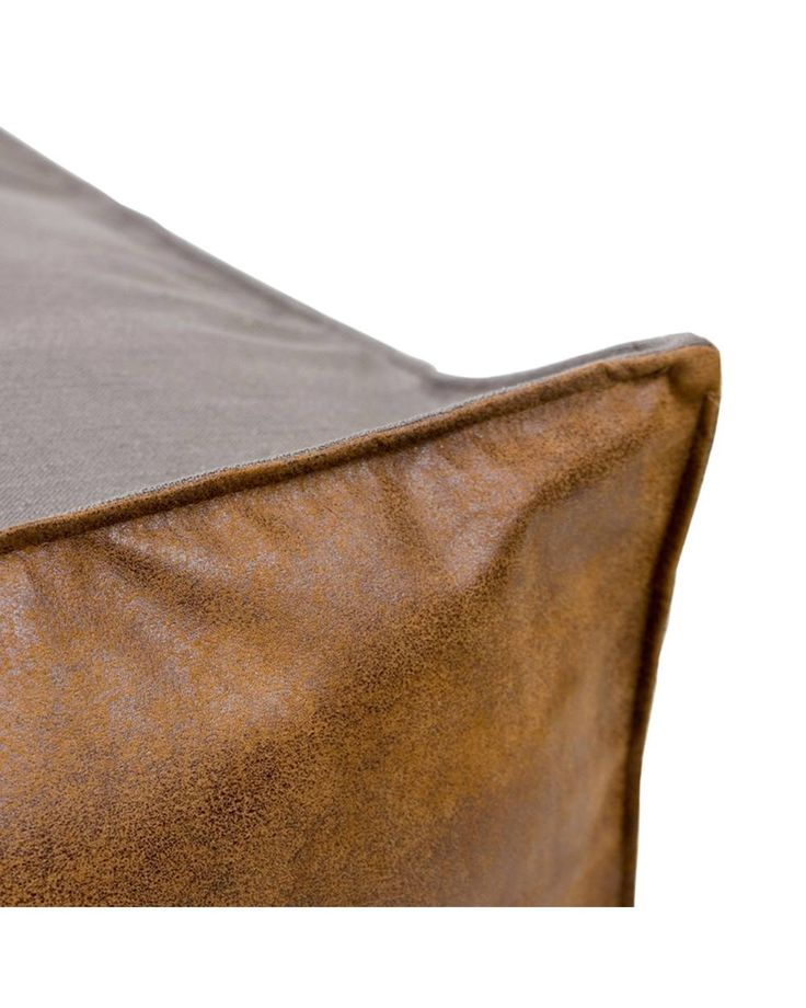 Puf grey Gie El Home A pouf made from ecological leather and grey fabric with linen.  The perfect supplement to your industrial living room, this linen, eco leather pouffe features a rustic design and stenciled detailing.