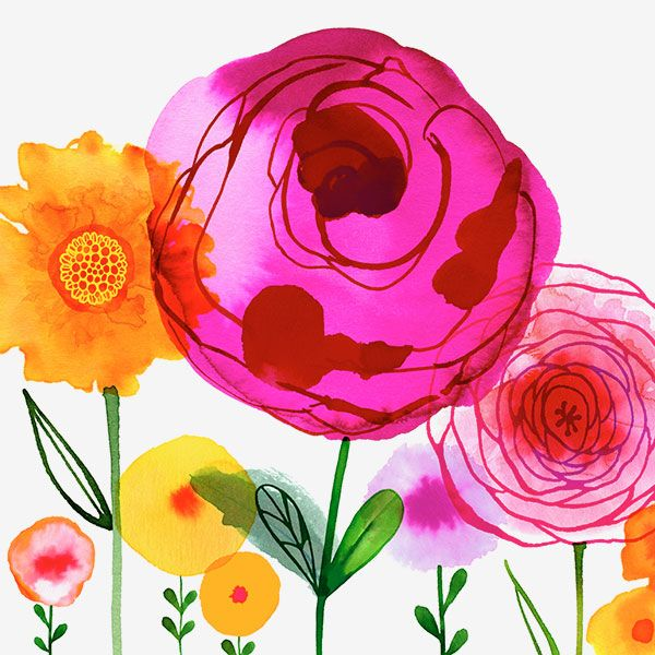 Margaret Berg Art: Pink+&+Yellow+Flowers