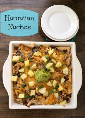 Yummy Hawaiian Nachos made with kahlua pork, wonton chips, cheese ...