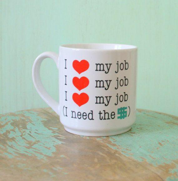 1980s I LOVE my JOB Mug....retro housewares. coffee. tea. drink. serve. love. hearts. kitsch. serving. coffee mug. funny