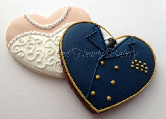 Bride and Groom Navy Heart Wedding Cookies