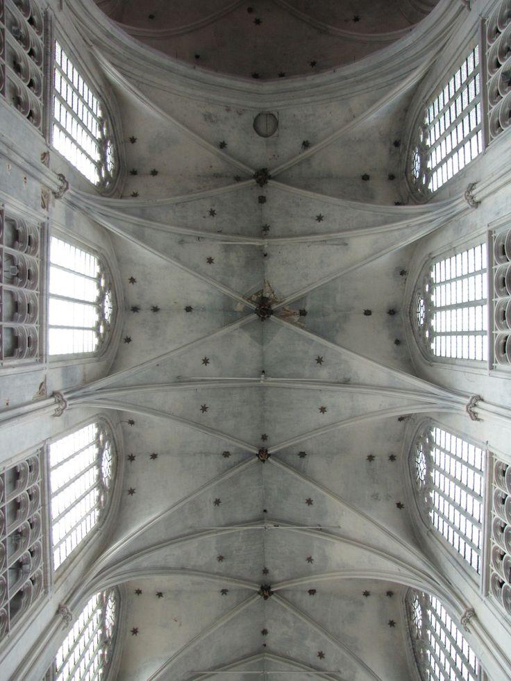 Bijna perfecte symmetrie in het plafond van de Sint Rombouts Kathedraal in Mechelen.