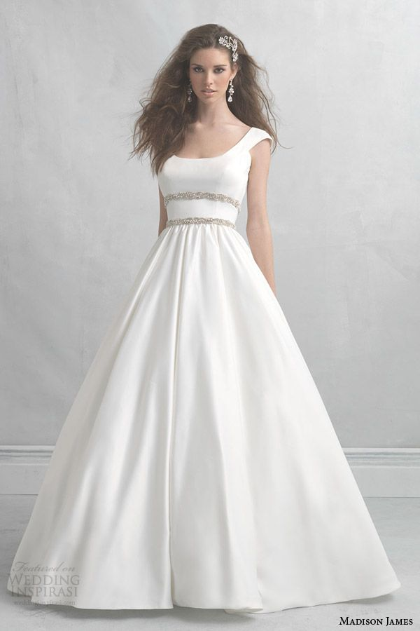 madison james wedding dresses 2014 cap sleeve satin ball gown style mj07 -- Allure Bridals Madison James Collection 2014 Wedding Dresses