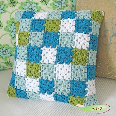 Granny Square Pillow with Join As You Go method, link to pattern broken, crochet inspiration,