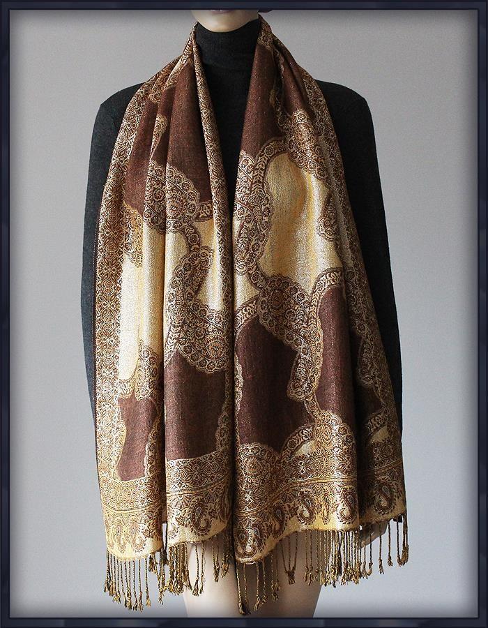 Pashmina Cashmere Zloty Szal Cudna Chusta Kaszmir 7090214106 Oficjalne Archiwum Allegro Fashion Kimono Top Women