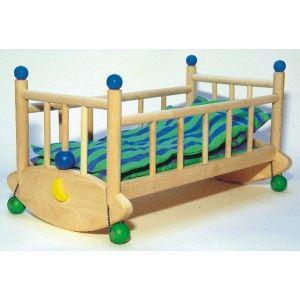 Bajo 74820 - Śliczna Drewniana Kołyska dla Lalek wykonana w całości z drewna Bukowego. Kołyska dla lalek dla lalki 40cm, posiada dołączoną pościel