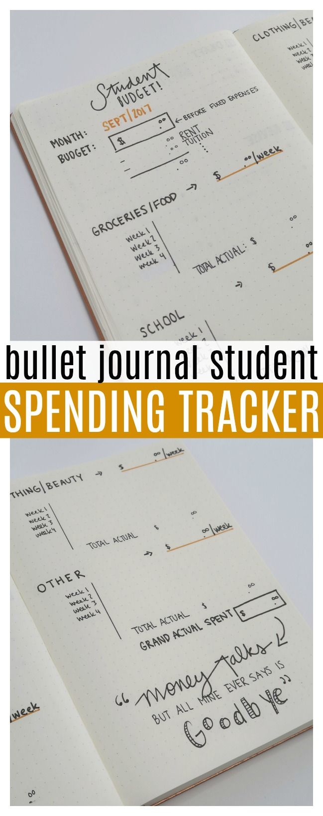 Bullet Journal STUDENT SPENDING TRACKER!