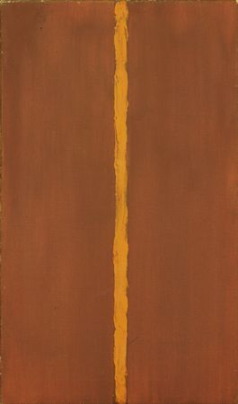 """Barnett Newman, Onement 1, 1948. Museum of Modern Art, New York. The first example of Newman using the so-called """"zip"""" to define the spatial structure of his paintings."""