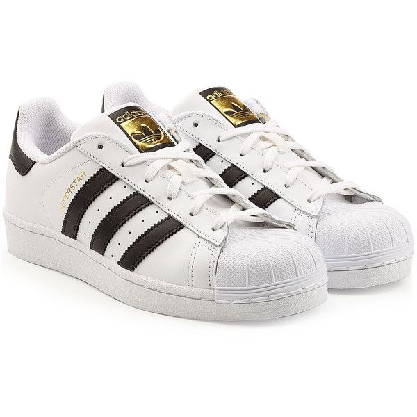 Adidas Originals Leather Superstar Sneakers (€110) ❤ liked on Polyvore featuring shoes, sneakers, sapatos, shoes - sneakers, white, white trainers, adidas sneakers, white lace up sneakers, adidas trainers and cap toe sneakers