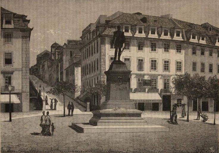   Ilustração - Praça Duque da Terceira ou Cais do Sodré  (data desconhecida)  - Na estátua: António José de Noronha - Duque da Terceira -