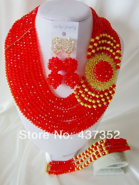 Fashion Red African Wedding Beads Jewelry Set Nigerian Beads Crystal Necklaces Bracelet Earrings CPS-1963 $78.52