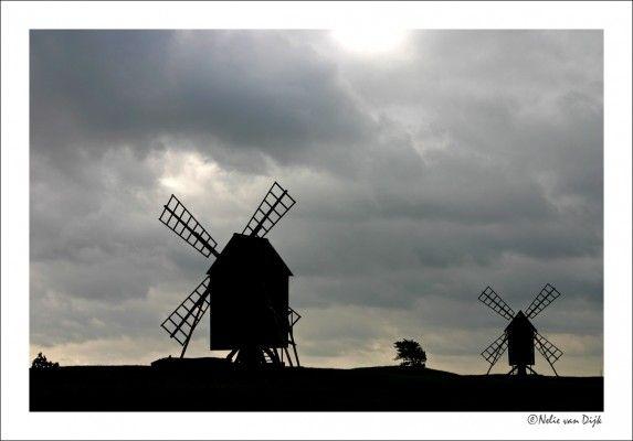 Op het Zweedse eiland Oland zijn nog heel veel van deze kleine windmolentjes te vinden (Sweden)