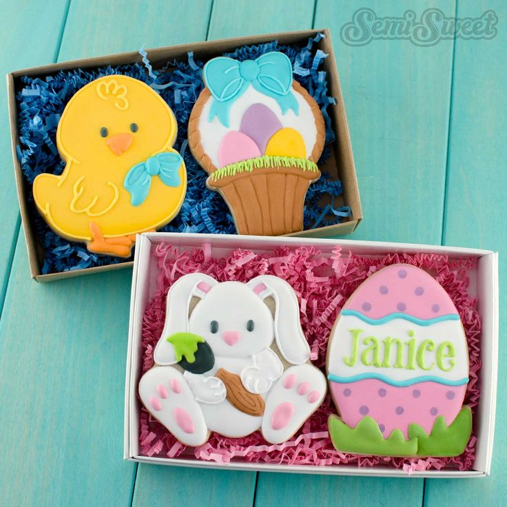 Decorated Easter Cookies in boxes by Semi Sweet Designs